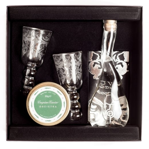 Caspian Caviar Vodka and Oscietra Caviar Gift Box 30g or 50g